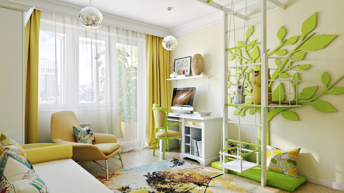 Дизайн штор желтых для детской комнаты