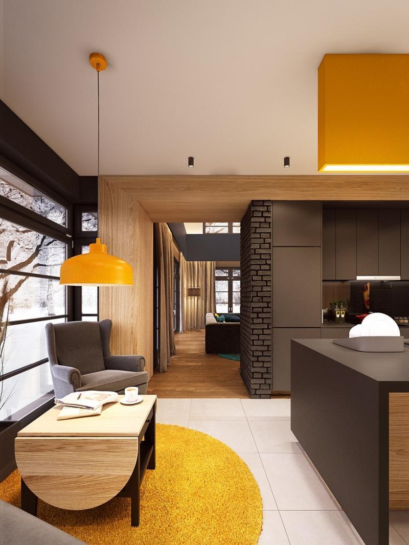 Сочетание коричневого цвета с желтым в интерьере