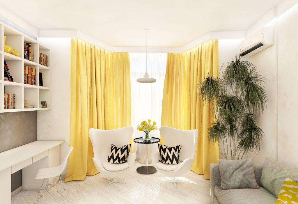 Яркие желтые шторы в гостиной-кабинете