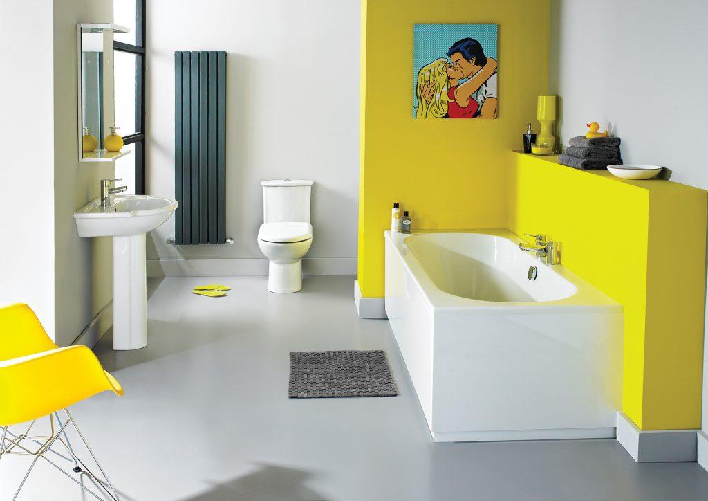 Желтая мебель и часть стены в ванной
