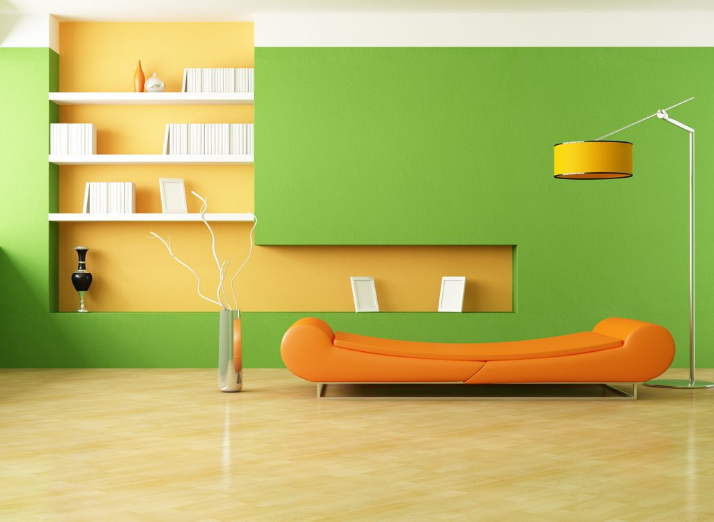 Желто-зеленые стены в гостиной
