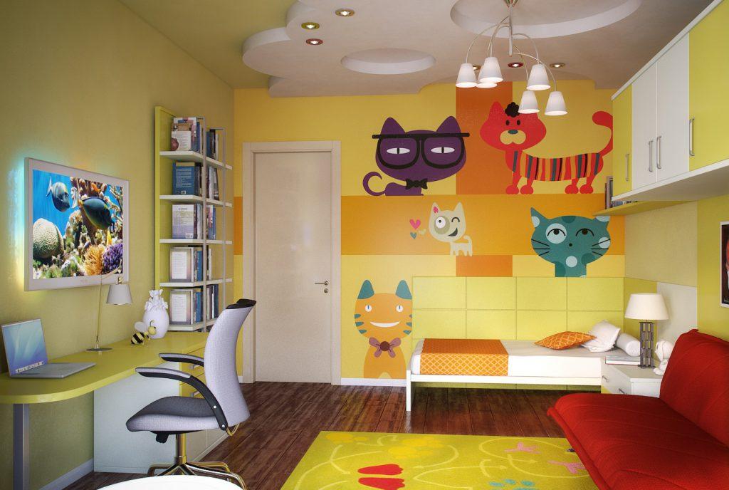 Желтые стены с рисунками для детской комнаты