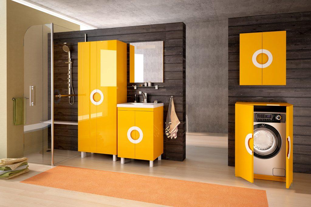 Желтые шкафы в ванной комнате