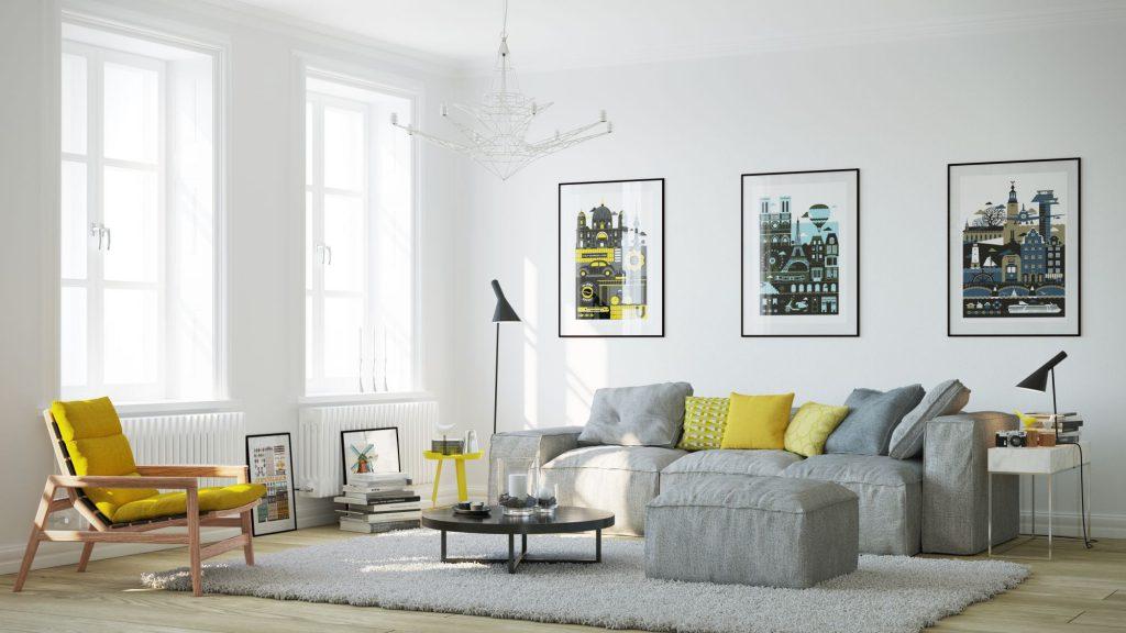 Белая гостиная с желтой и серой мебелью