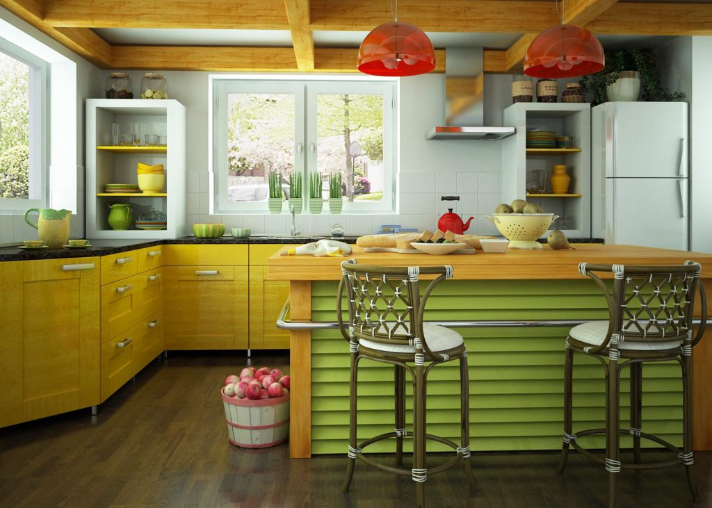 Кухонный гарнитур с желтым фасадом