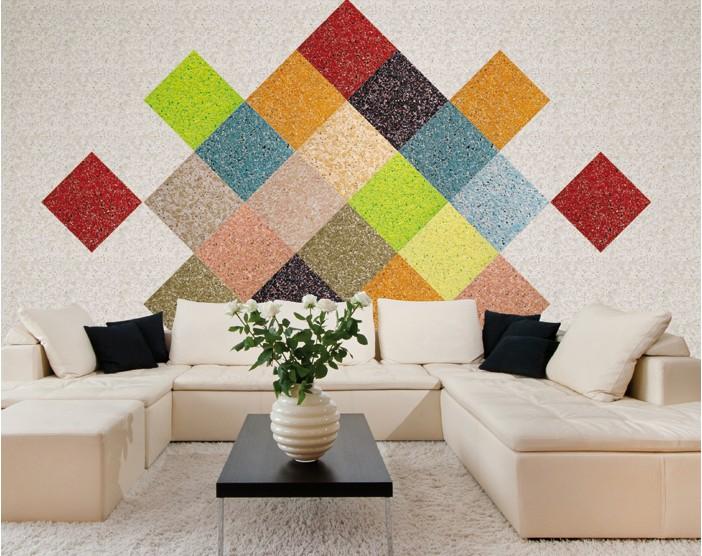 Яркий декор стены жидкими обоями в гостиной