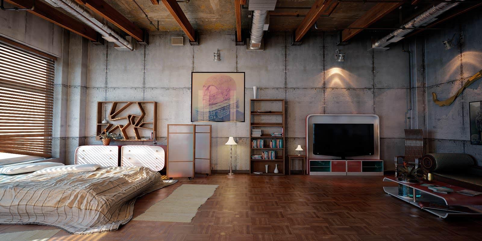 Коричневые балки на потолке в индустриальной спальне