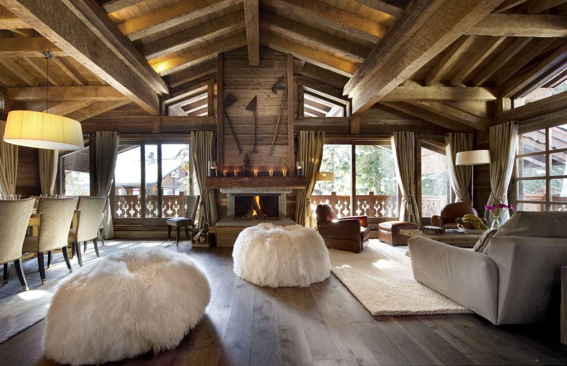 Потолочные балки в интерьере в стиле шале