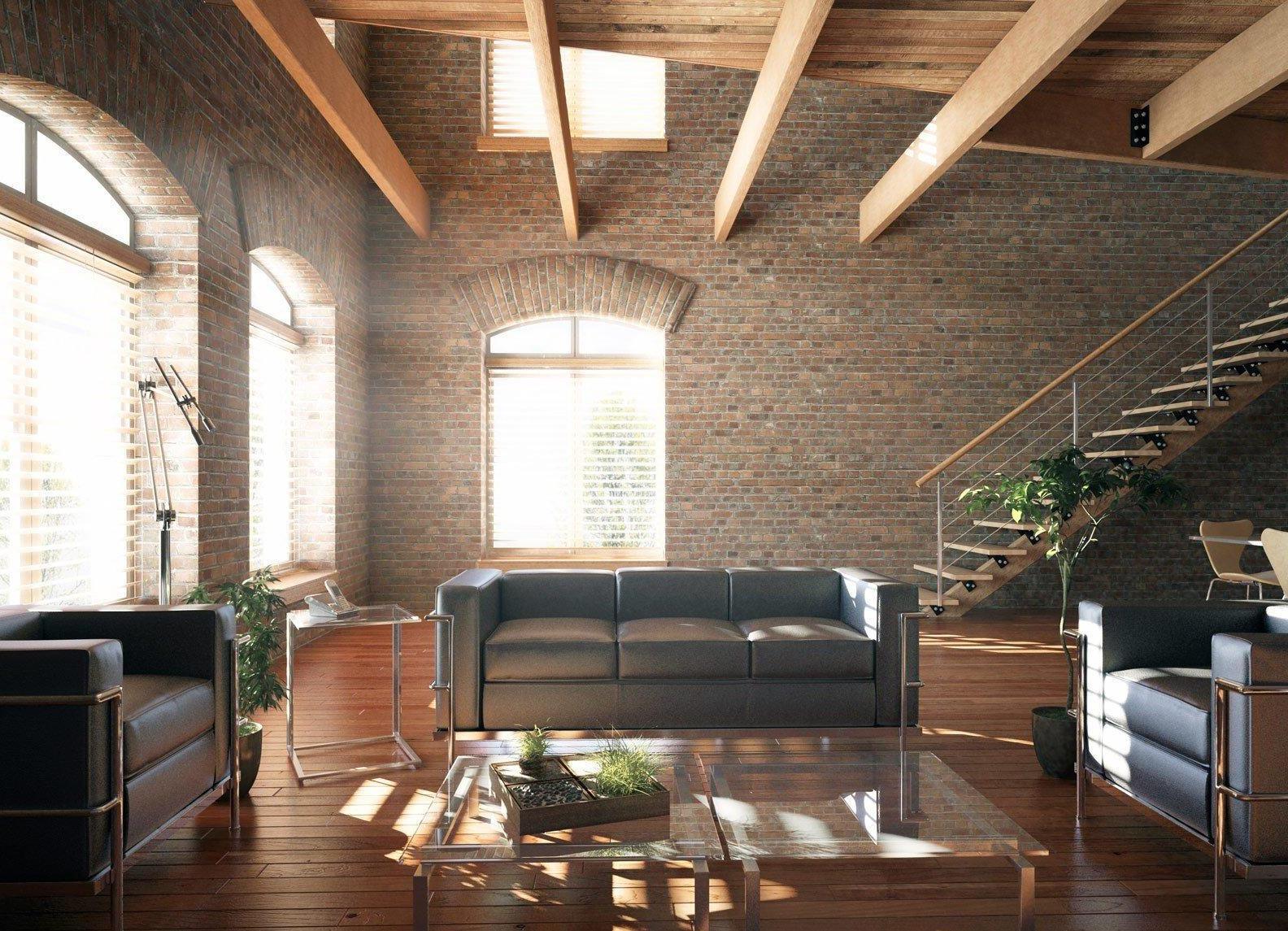 Деревянные балки в гостиной в стиле лофт