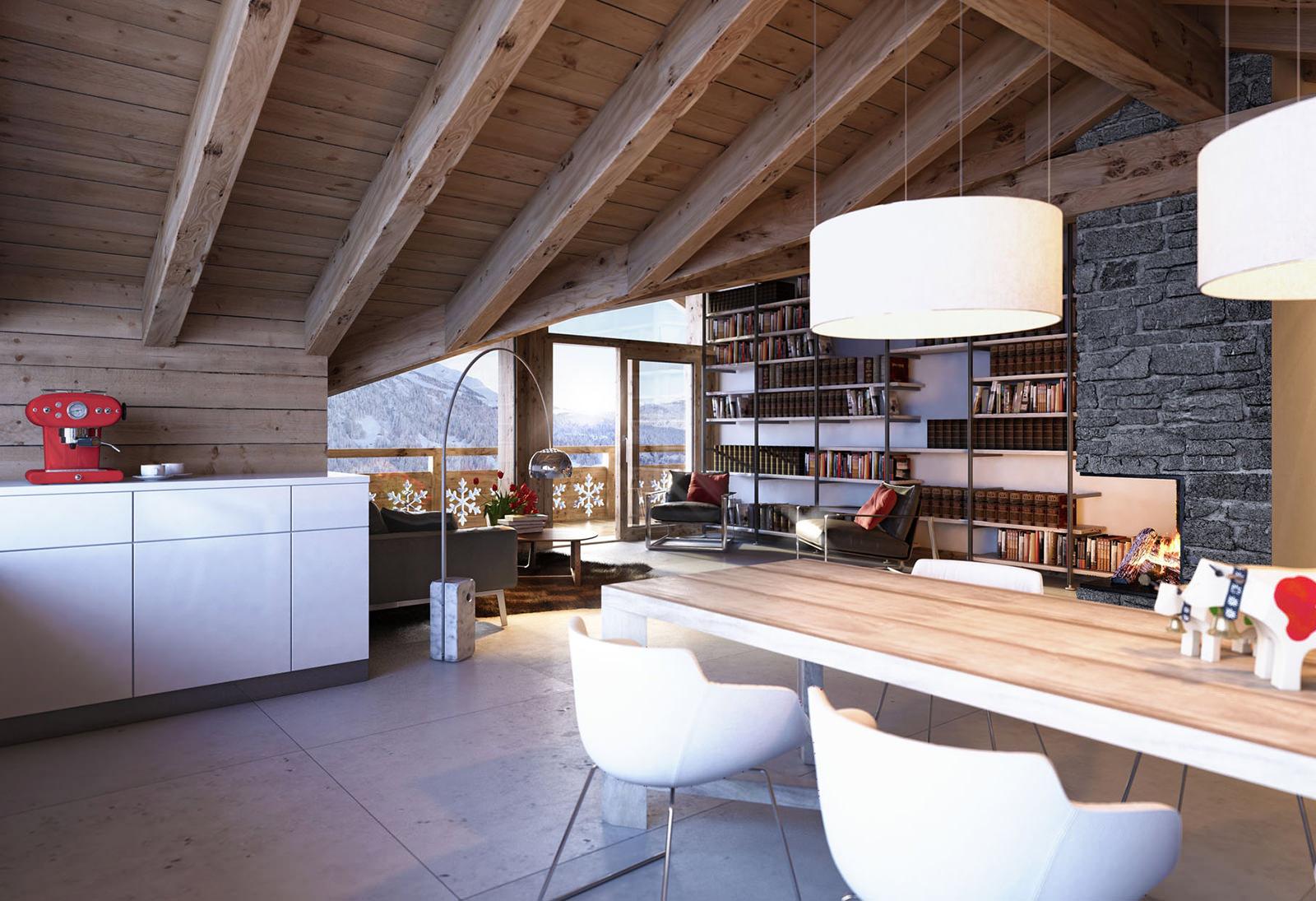 Деревянный потолок с балками в гостиной