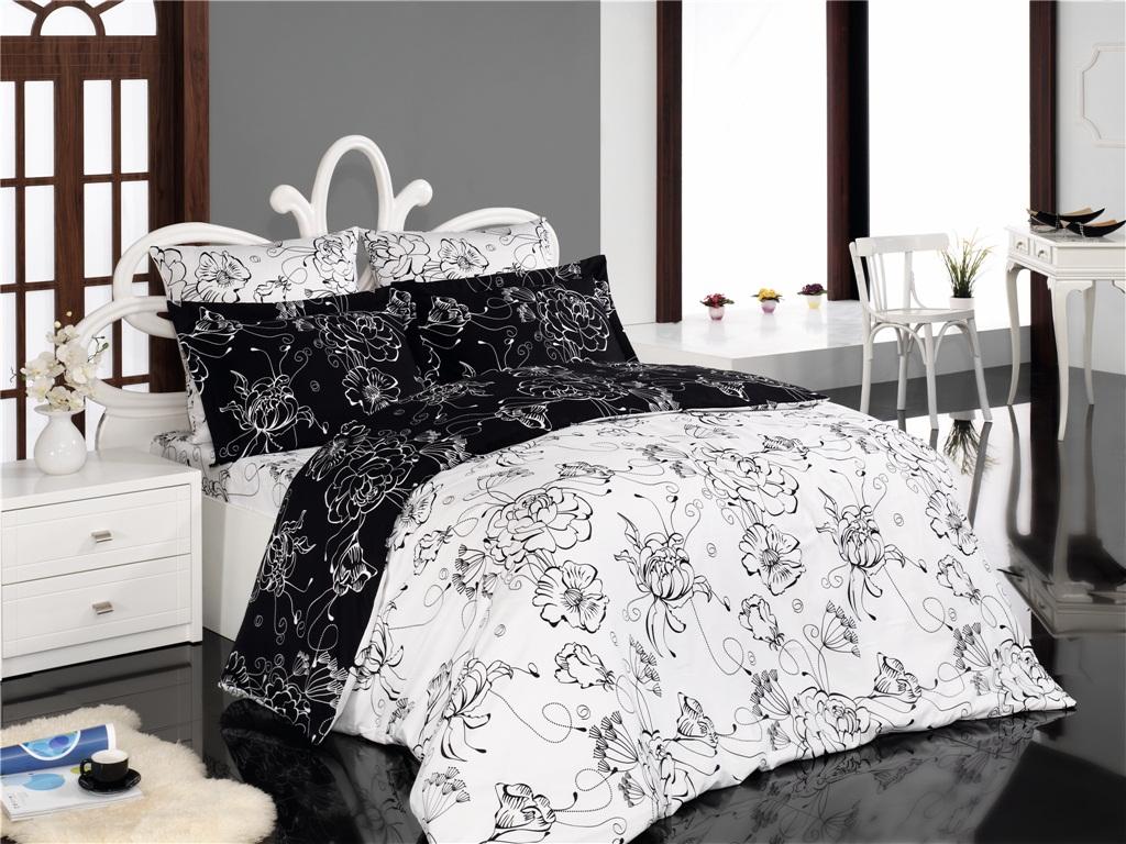 Черно-белое постельное белье из бамбука