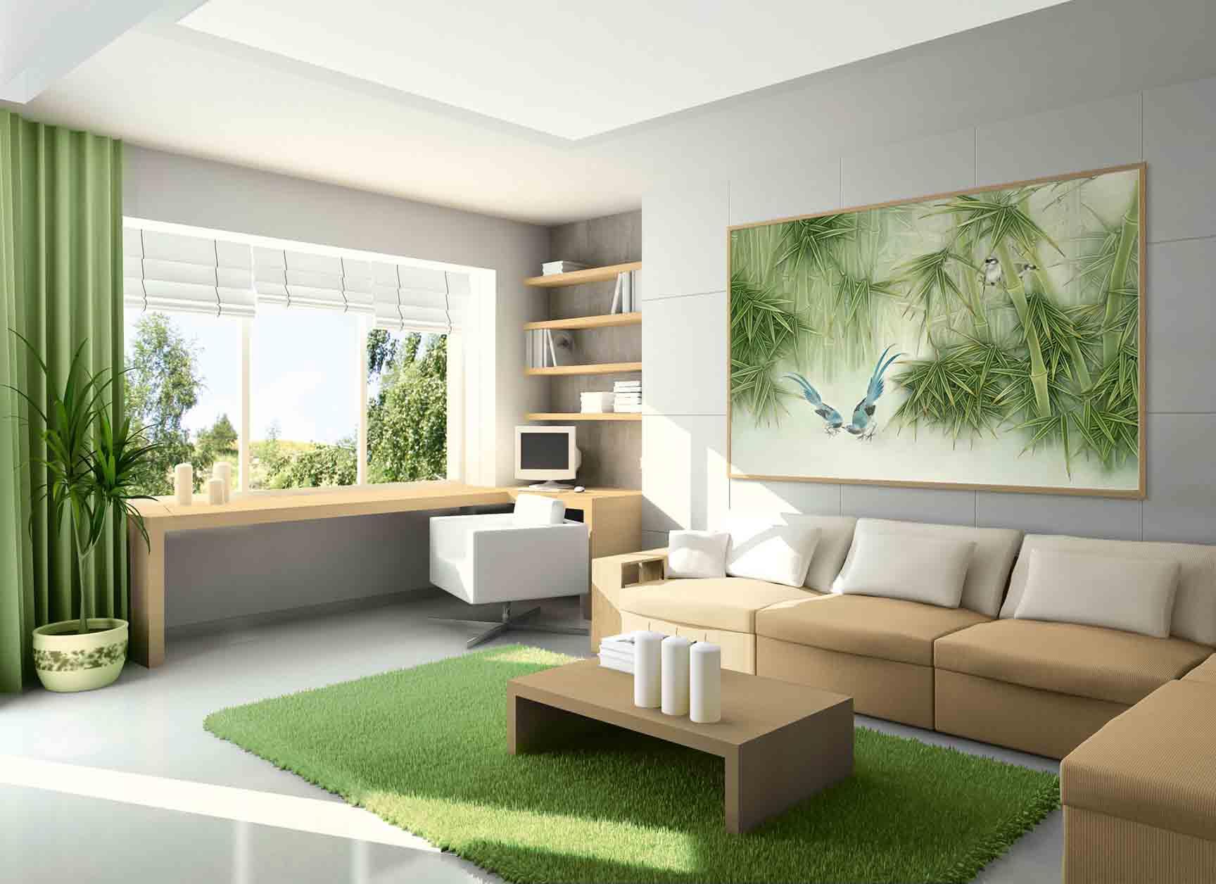 Картина с изображением бамбука в интерьере