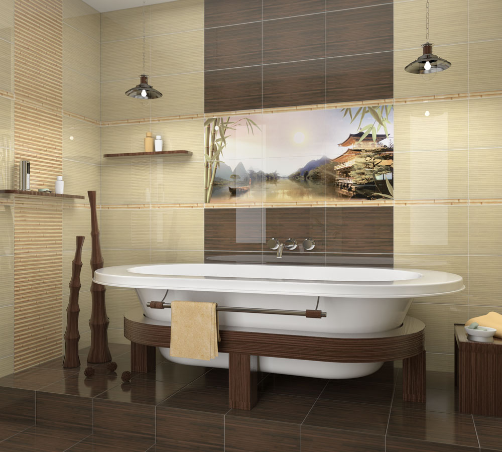 Плитка с изображением бамбука в интерьере ванной