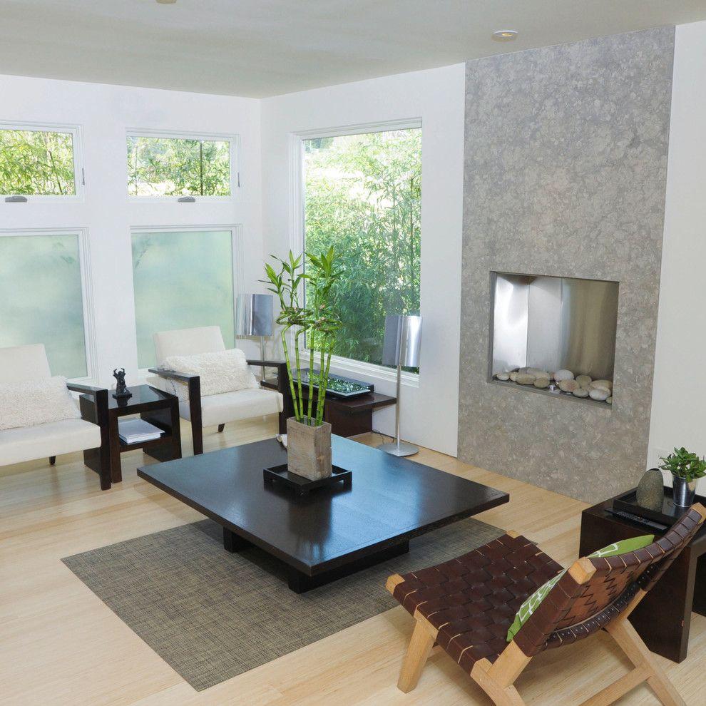 Живой бамбук в интерьере гостиной