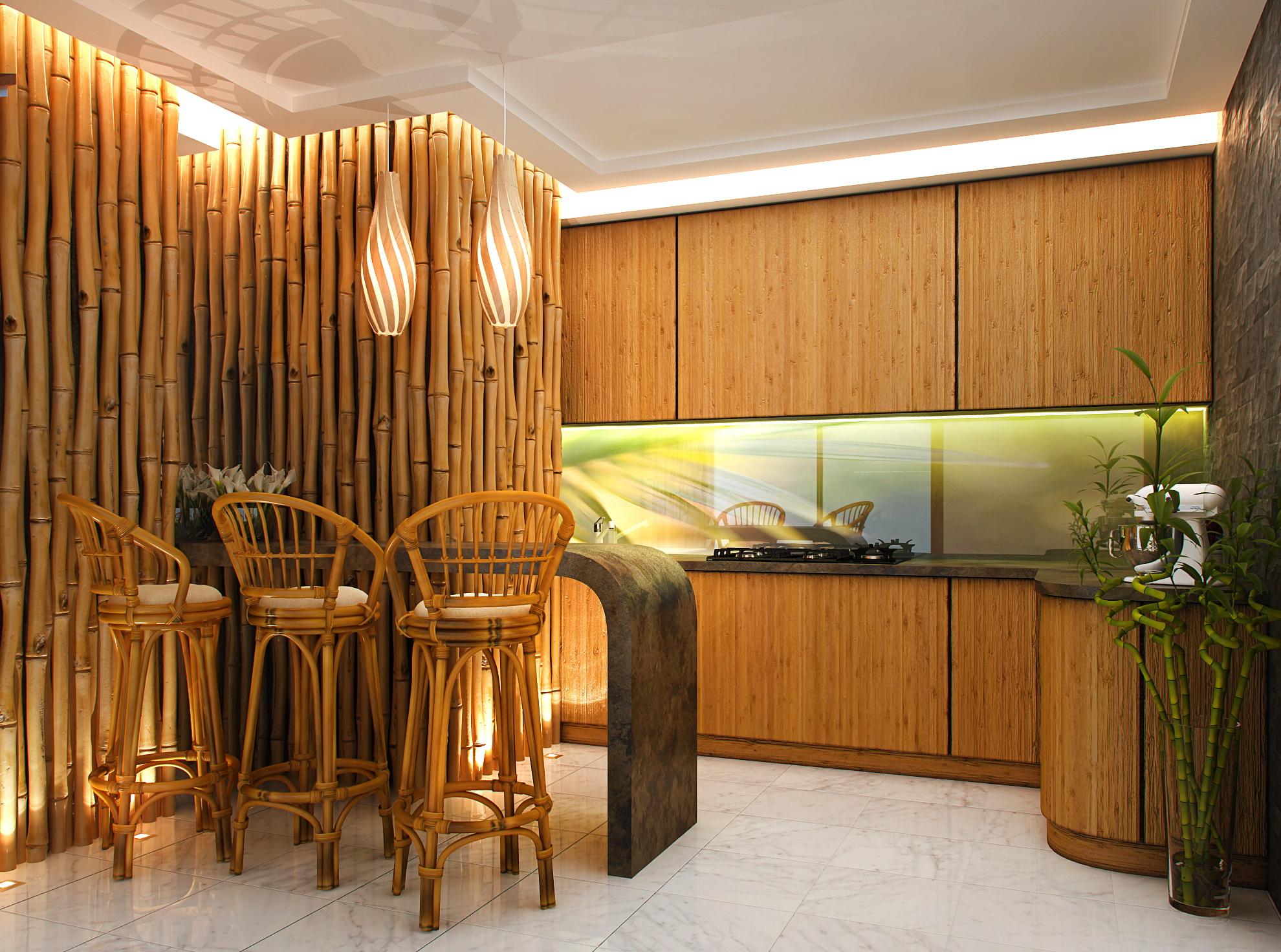Декоративные стволы бамбука для отделки стены