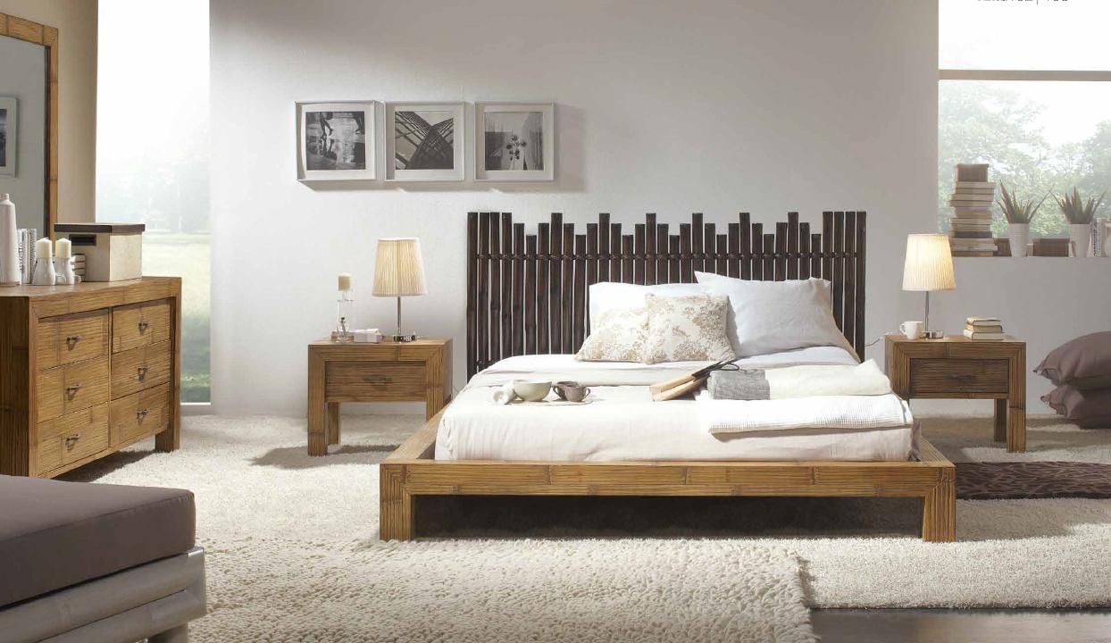 Бамбук в отделке изголовья кровати