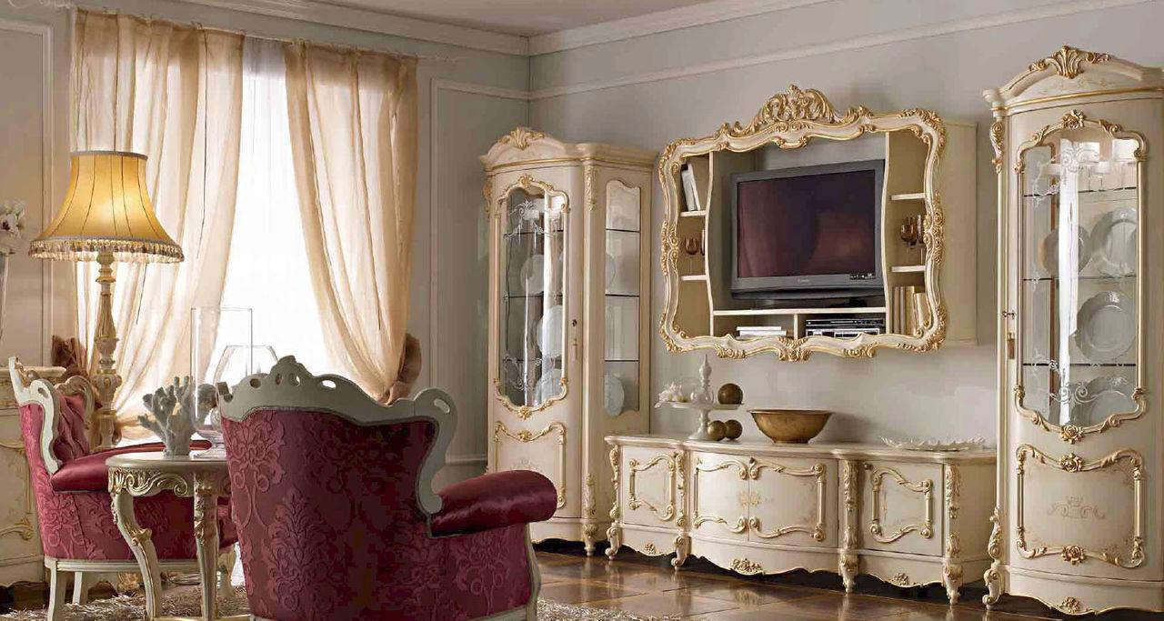 Оформление телевизора в гостиной в стиле барокко
