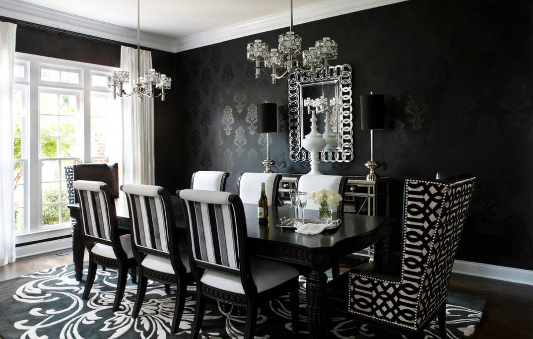 Черно-белая столовая в стиле барокко