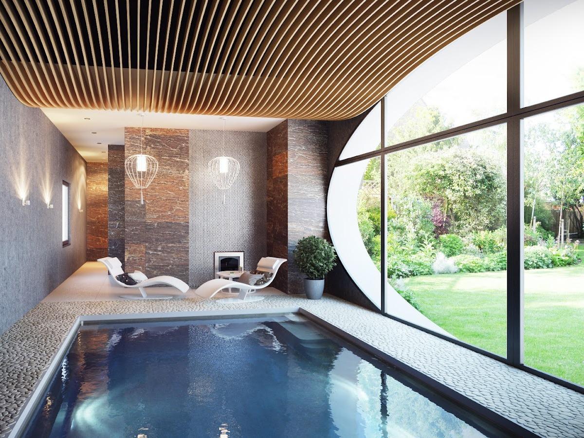 Бассейн в комнате с большим окном