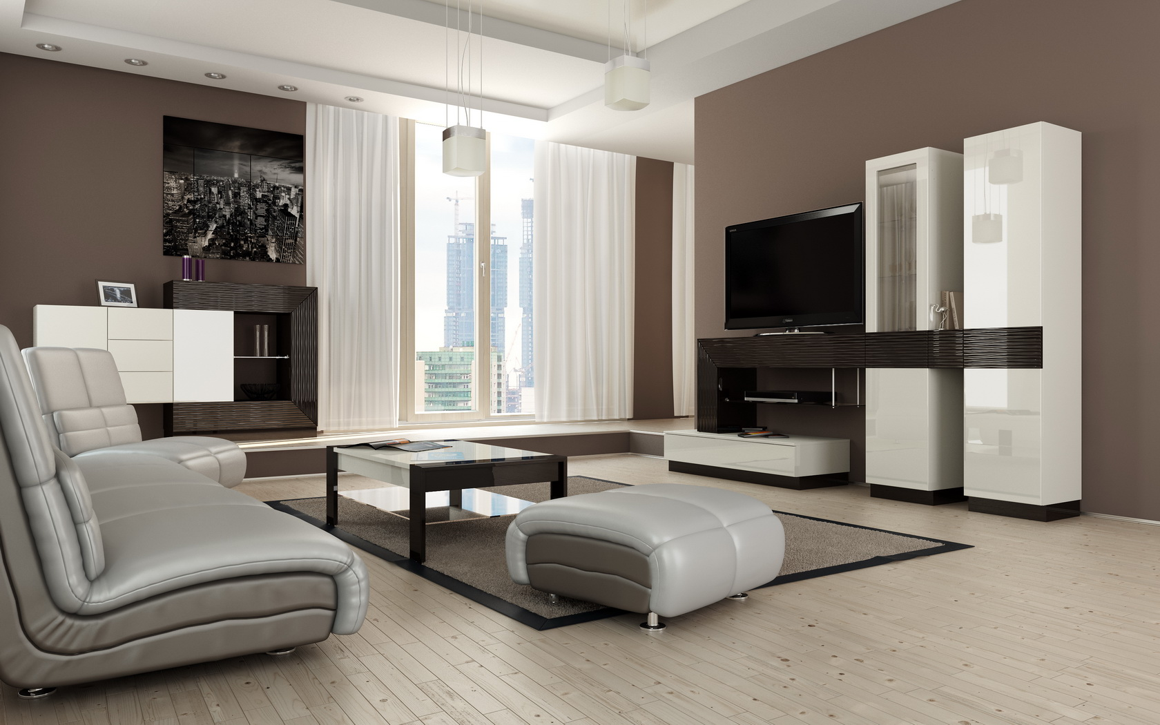 Черно-белая мебель в гостиной