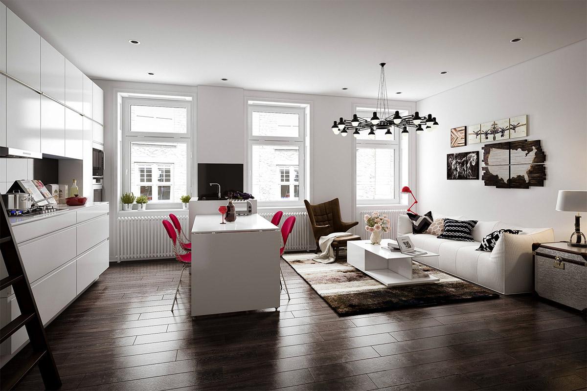 Белая мебель в скандинавском интерьере