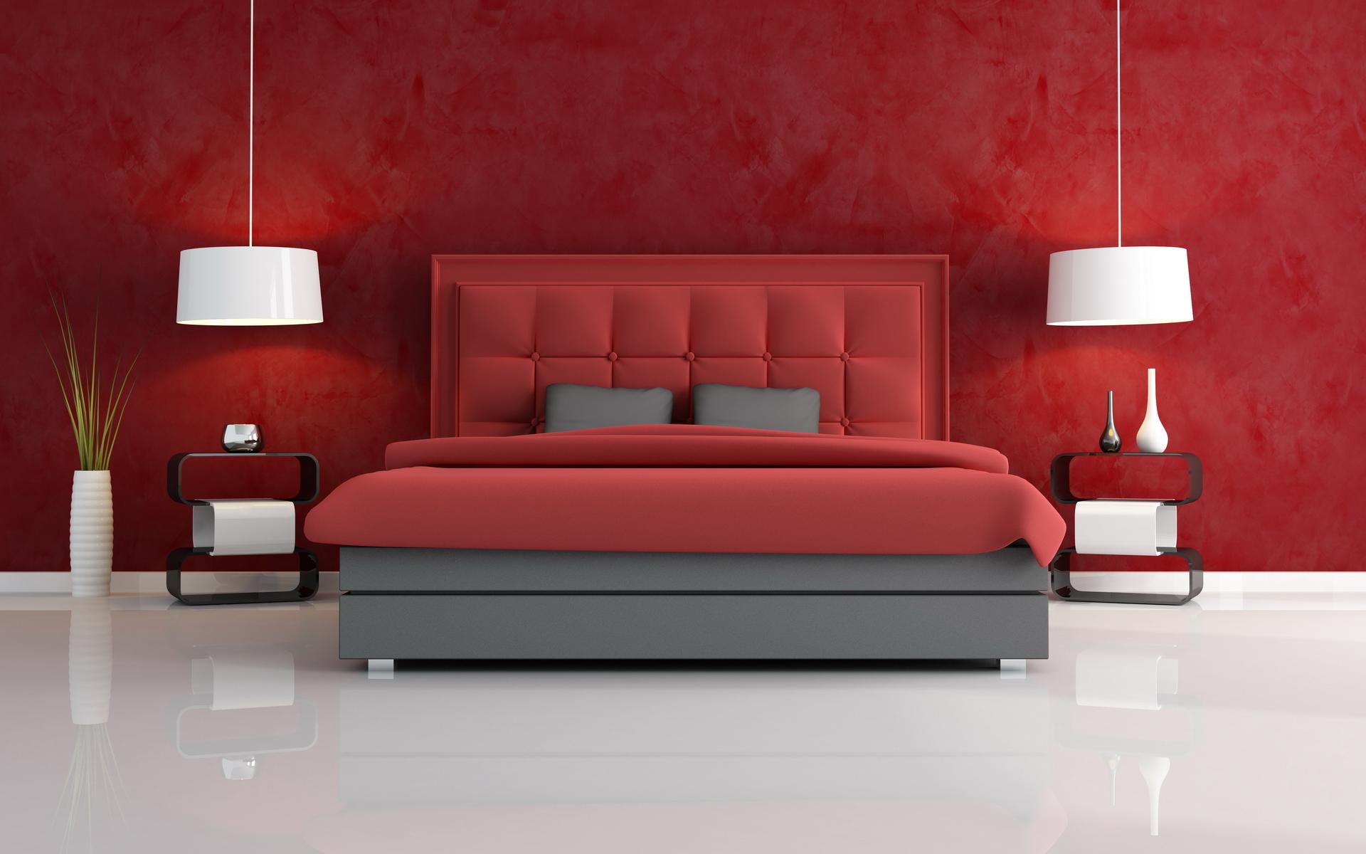 Бордовый и белый цвета в спальне