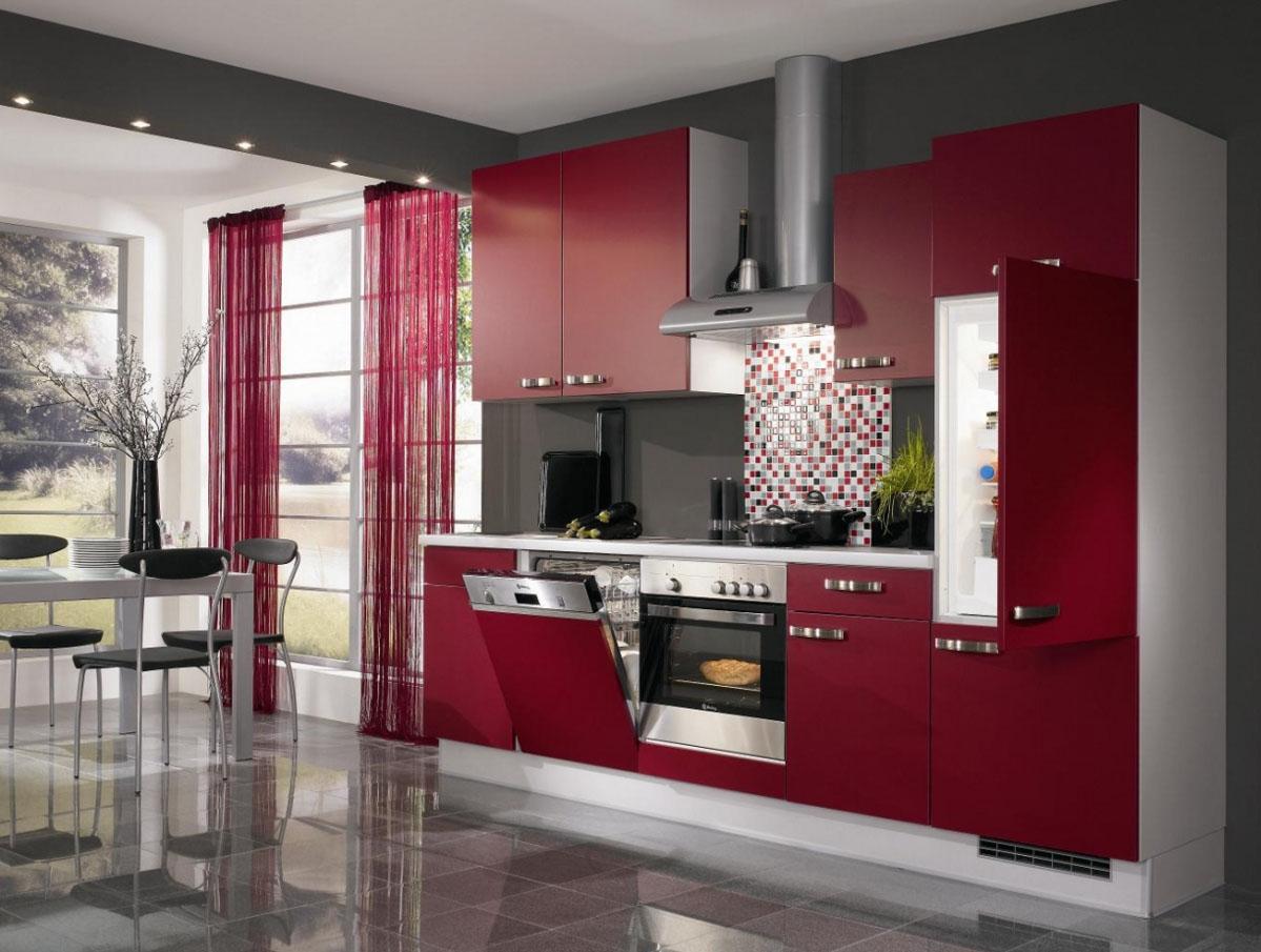 Современная бордово-белая кухня
