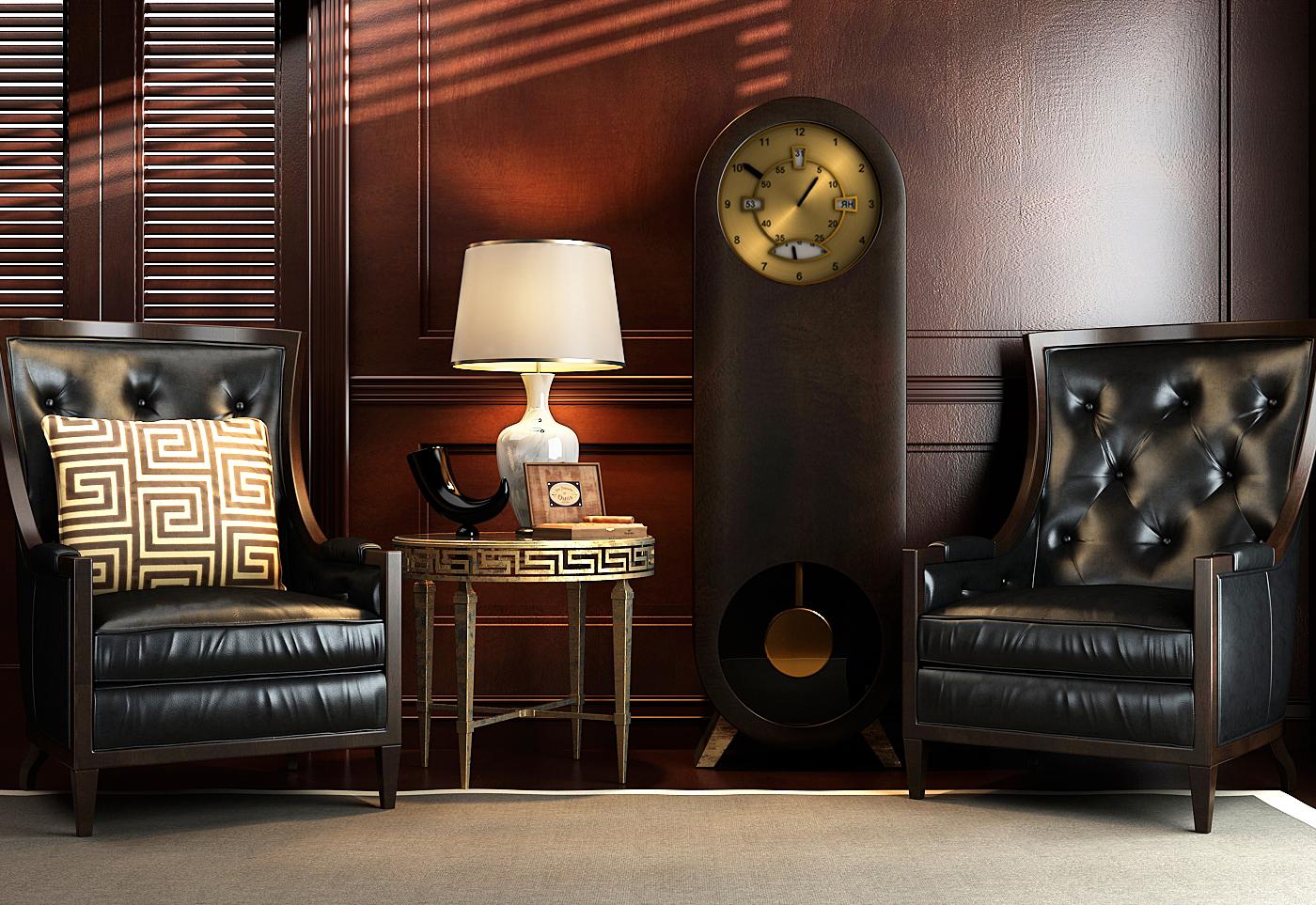 Напольные стильные часы в гостиной