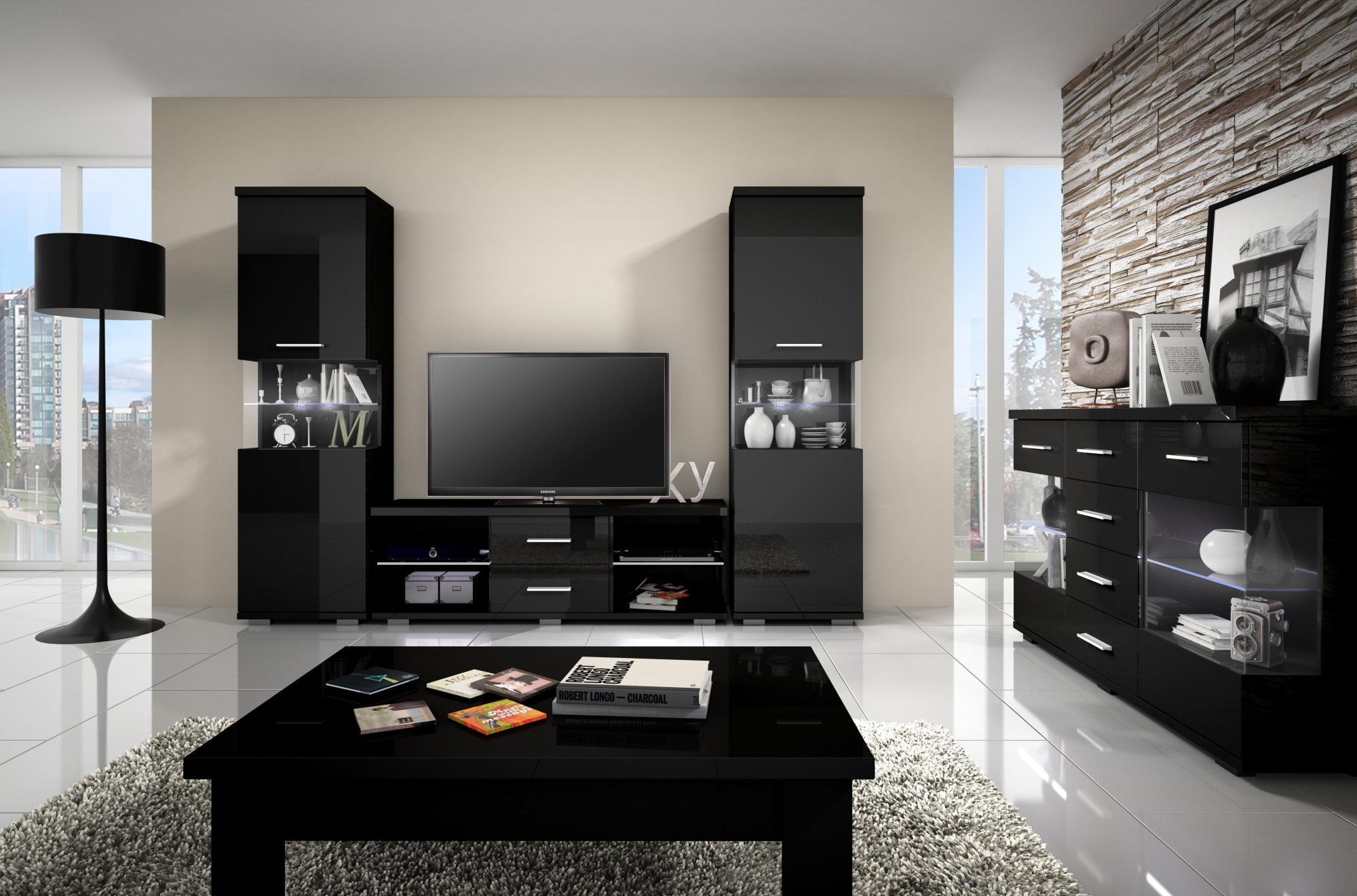 Стенка в гостиную черная