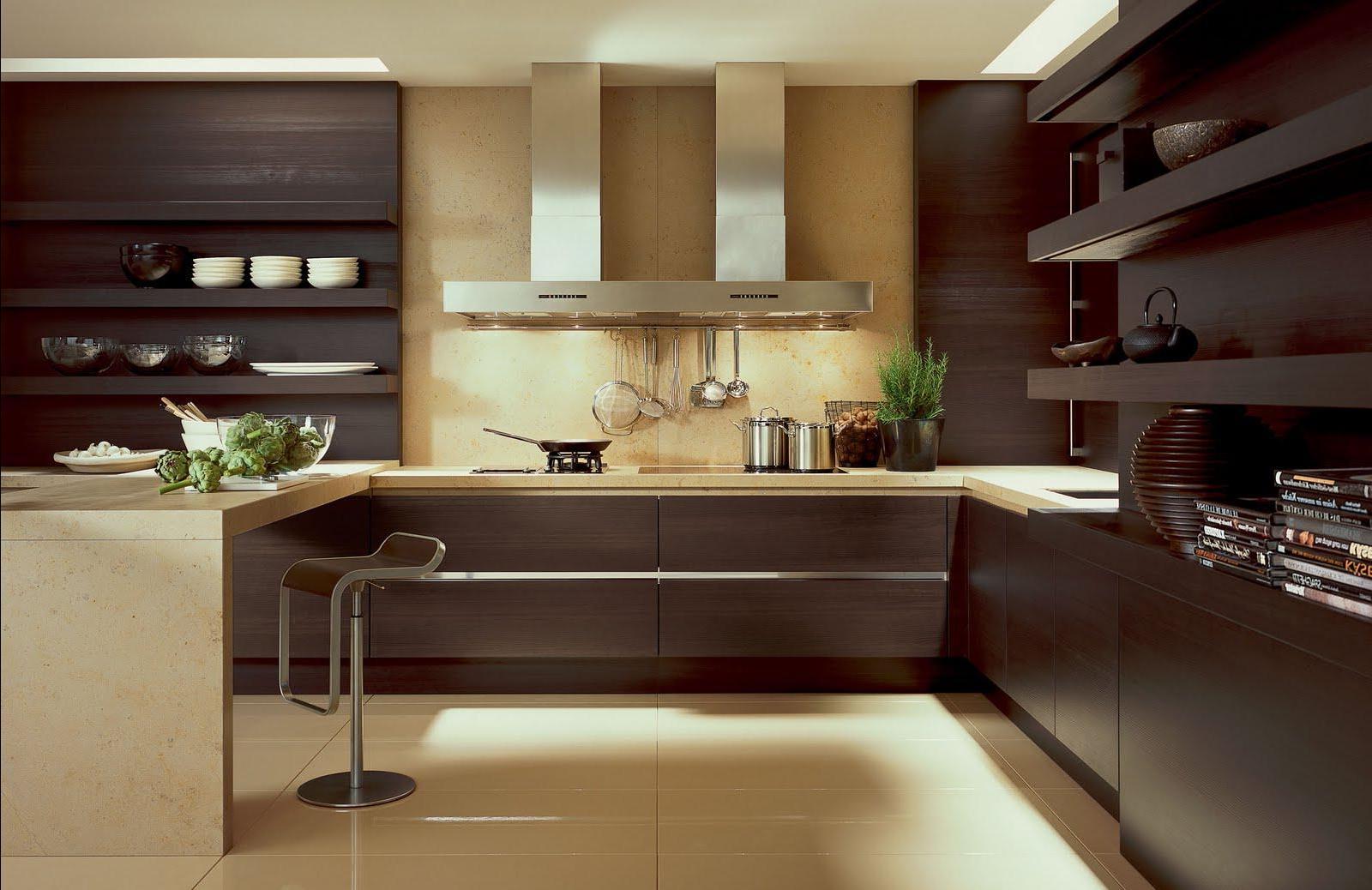 Кухня в стиле хай-тек с деревом в отделке