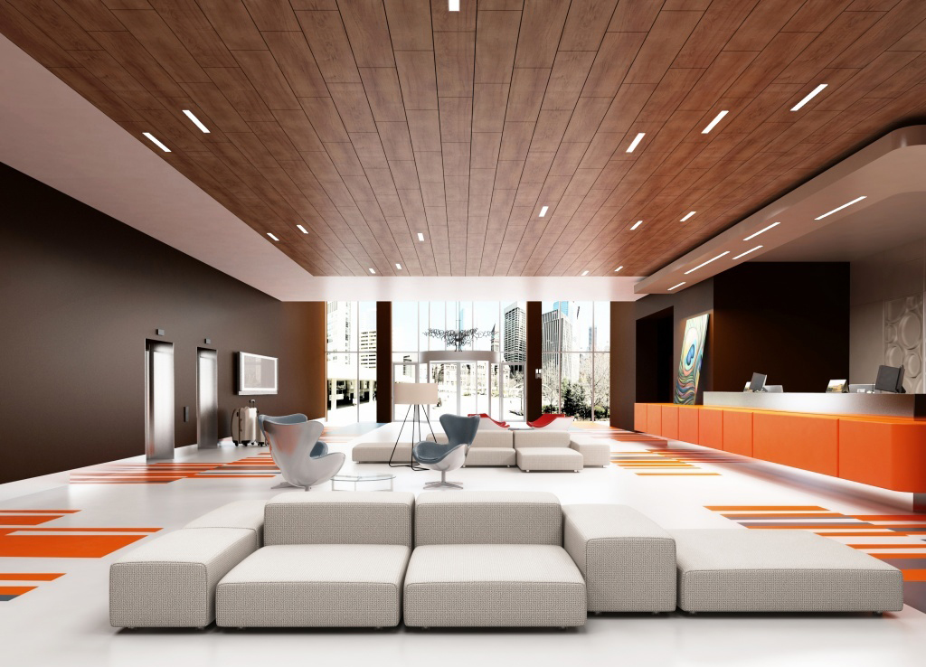 Деревянный потолок с точечным освещением
