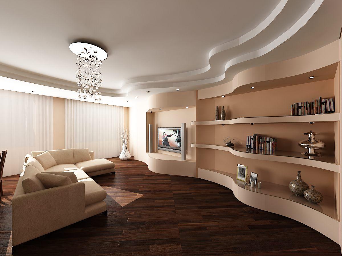 Белый многоуровневый потолок в гостиной