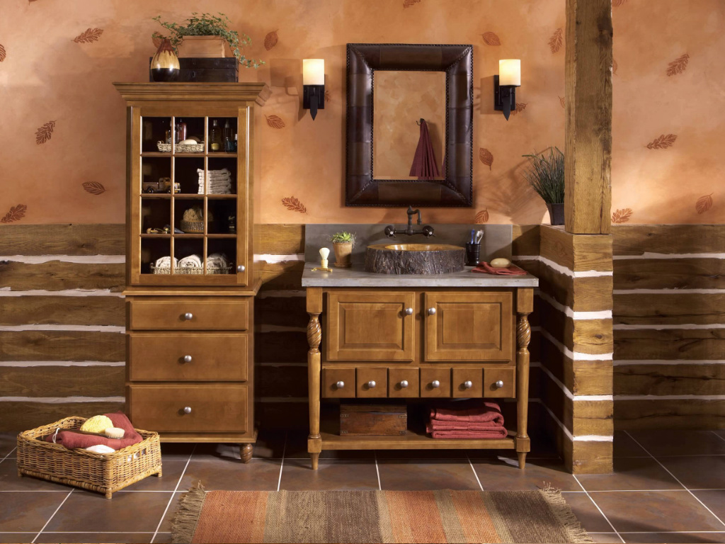 Ванная в коричневых тонах в стиле кантри
