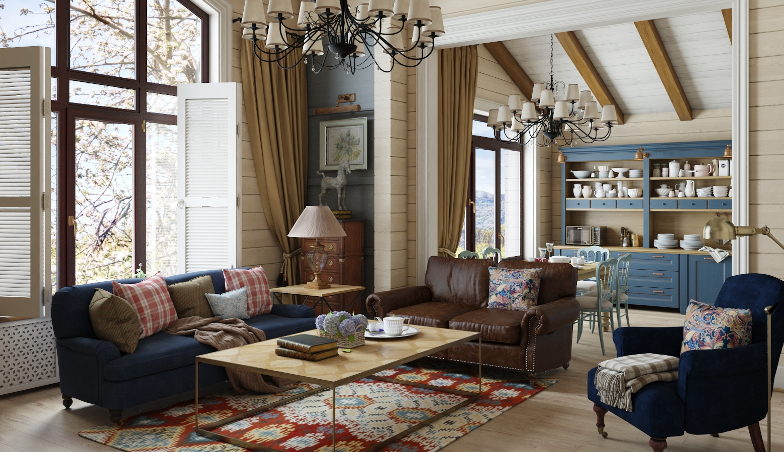 Просторная гостиная в доме в стиле кантри