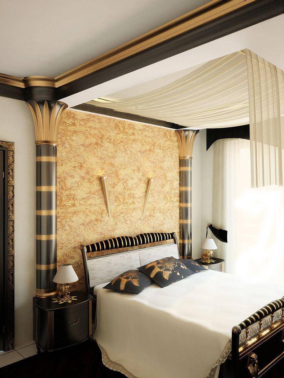Вариант оформления спальни в египетском стиле