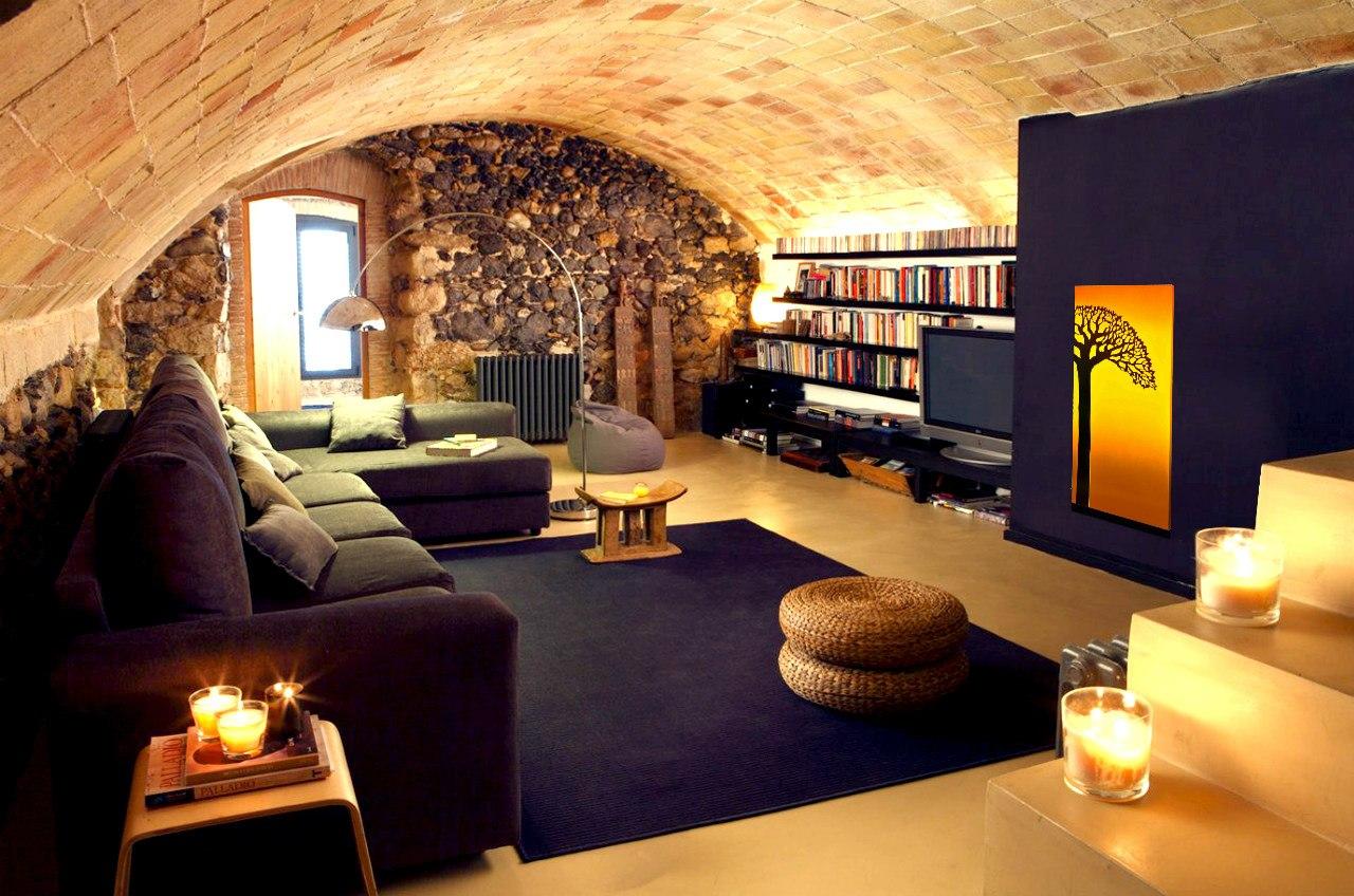 Африканский стиль в гостиной с арочным потолком