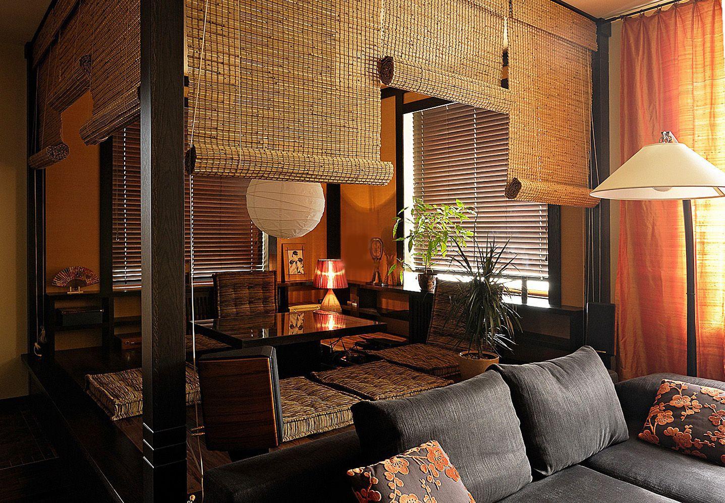 Рулонные шторы для разделения пространства в этно-стиле