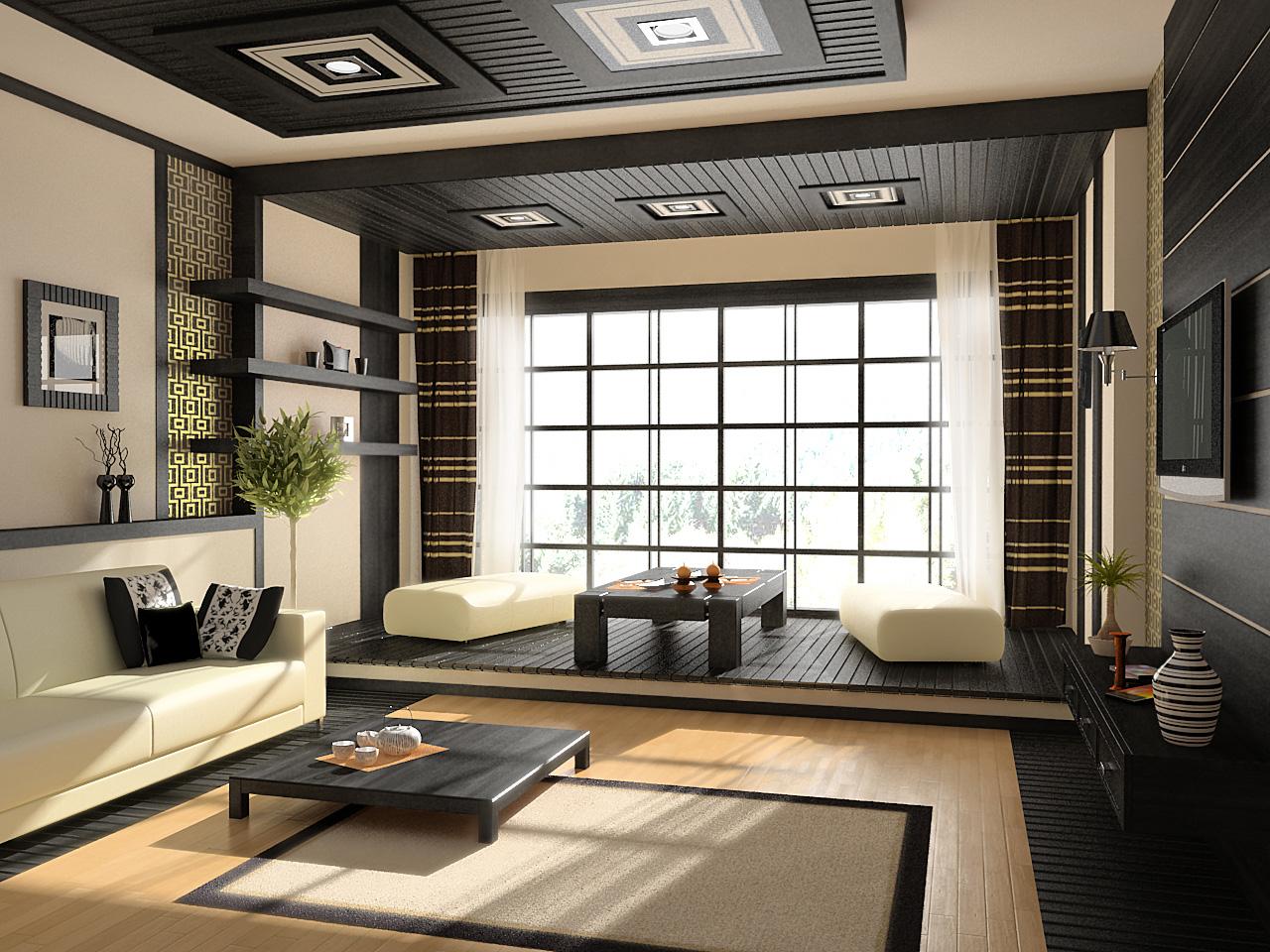 Бежево-черная гостиная в японском стиле