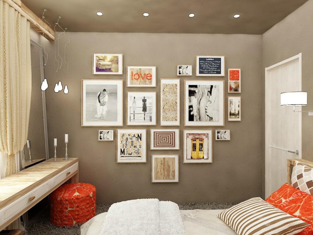 Схема размещения фотографий в форме сердца в спальне