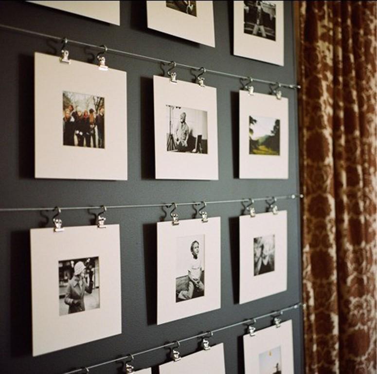 Фотографии в паспарту на веревке