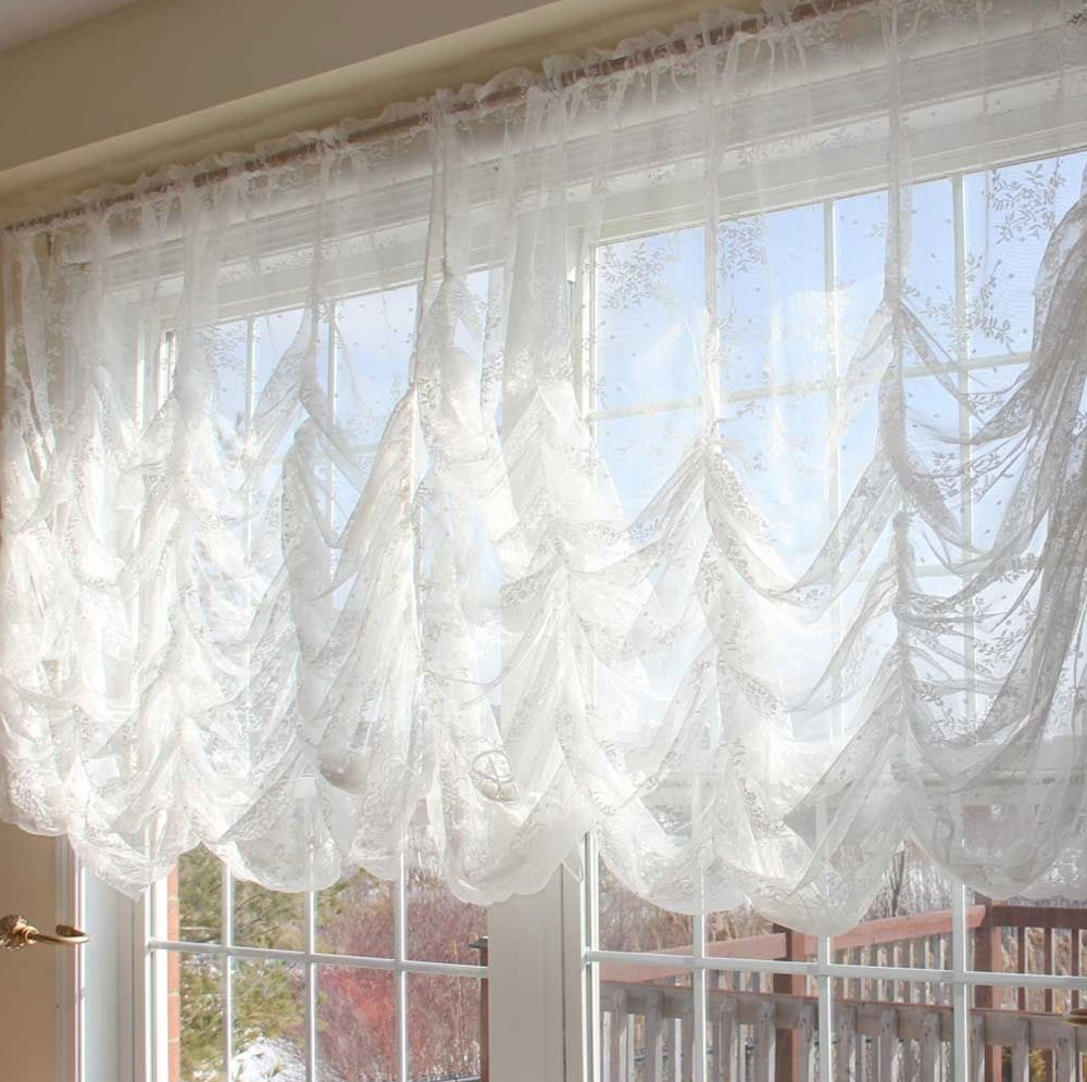 Французские шторы из легкого белого тюля