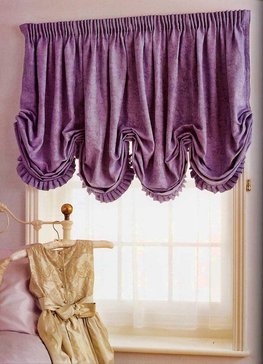 Фиолетовые французские шторы в детской