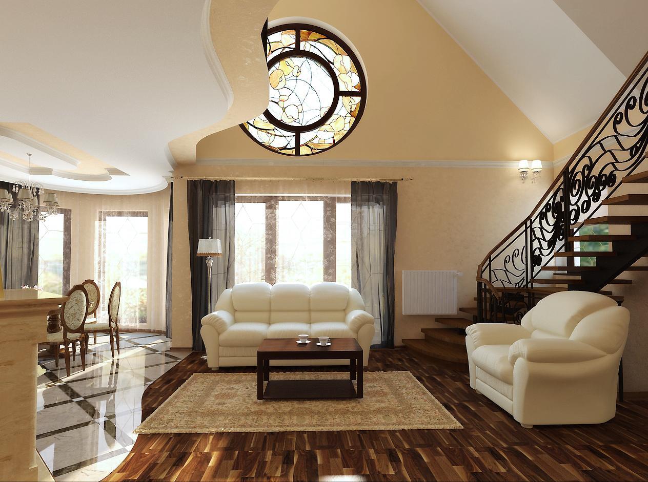 Бежевый, белый и коричневый цвета в совмещенной гостиной во французском стиле