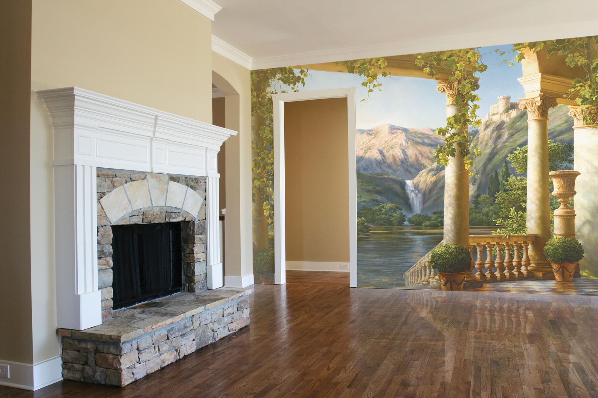 Фреска в гостиной с камином