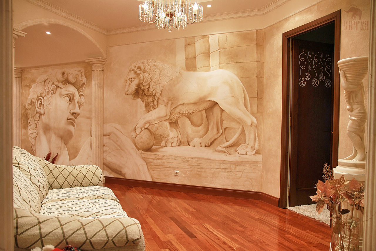 Фреска в светлых тонах на стене