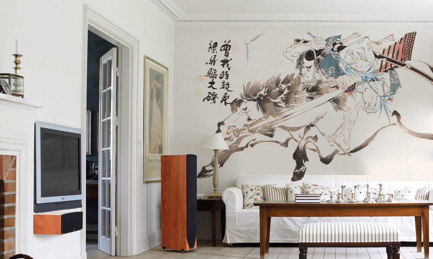 Фреска в японском стиле в гостиной