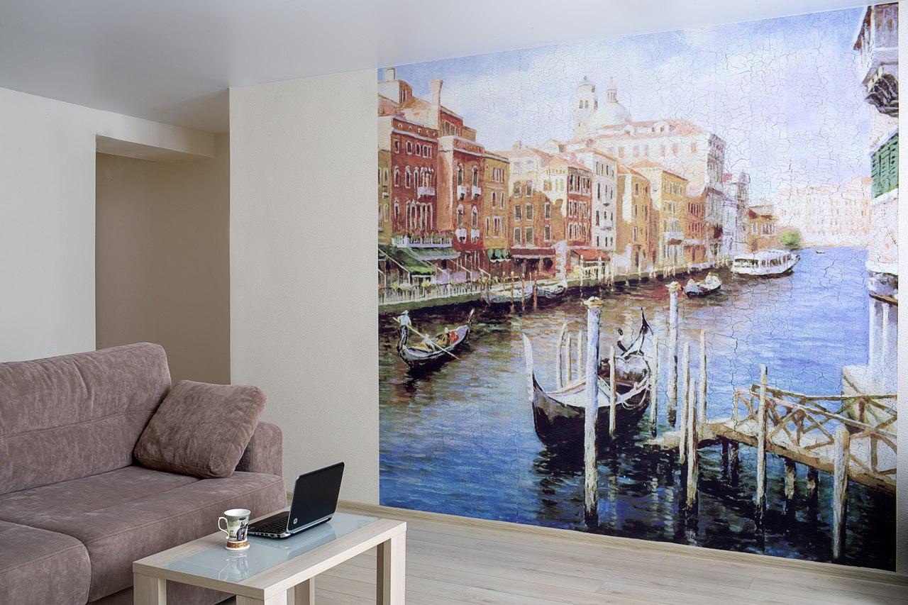 Фреска с изображением Венеции в гостиной