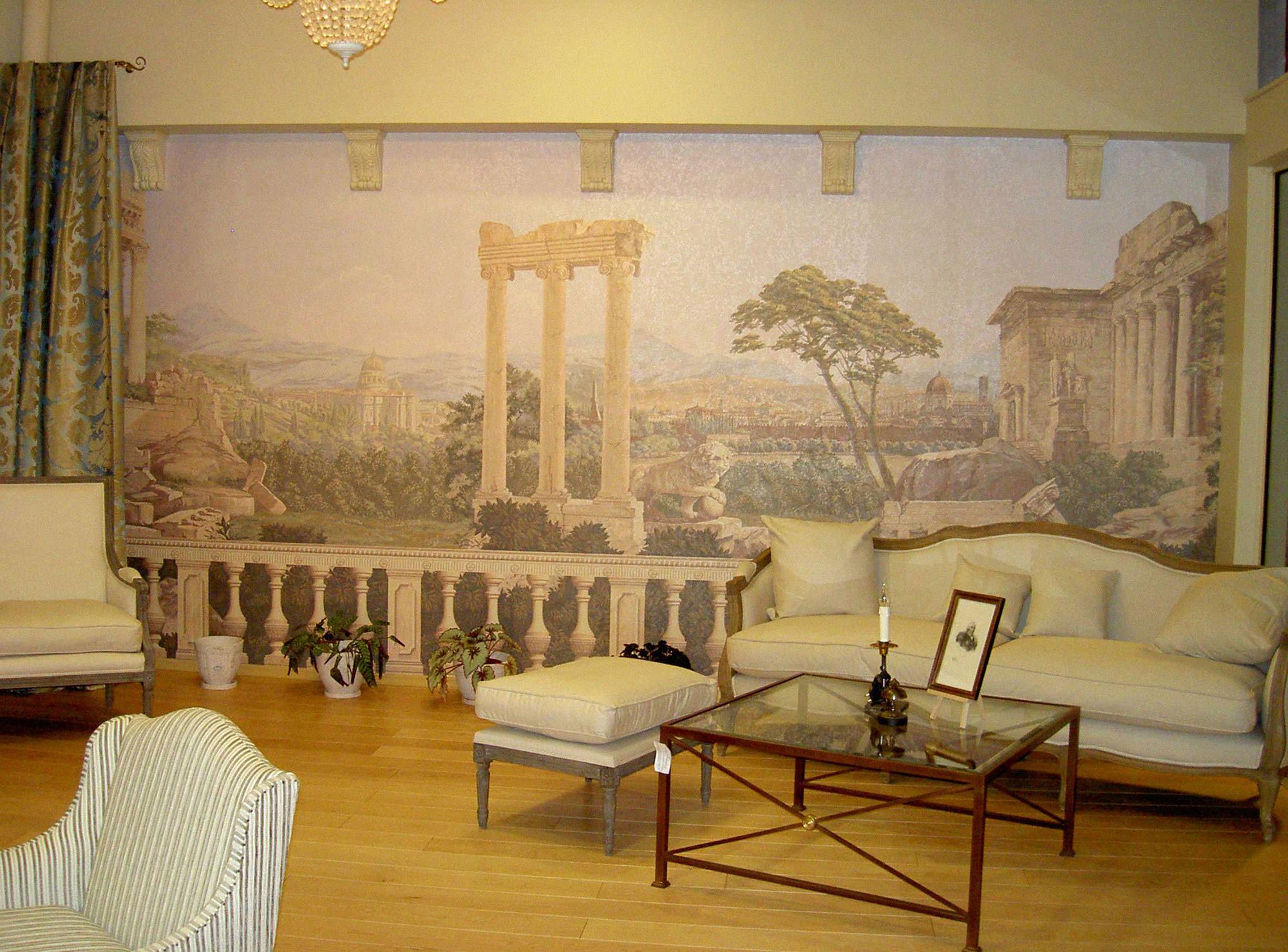 Фреска в бежевой гостиной