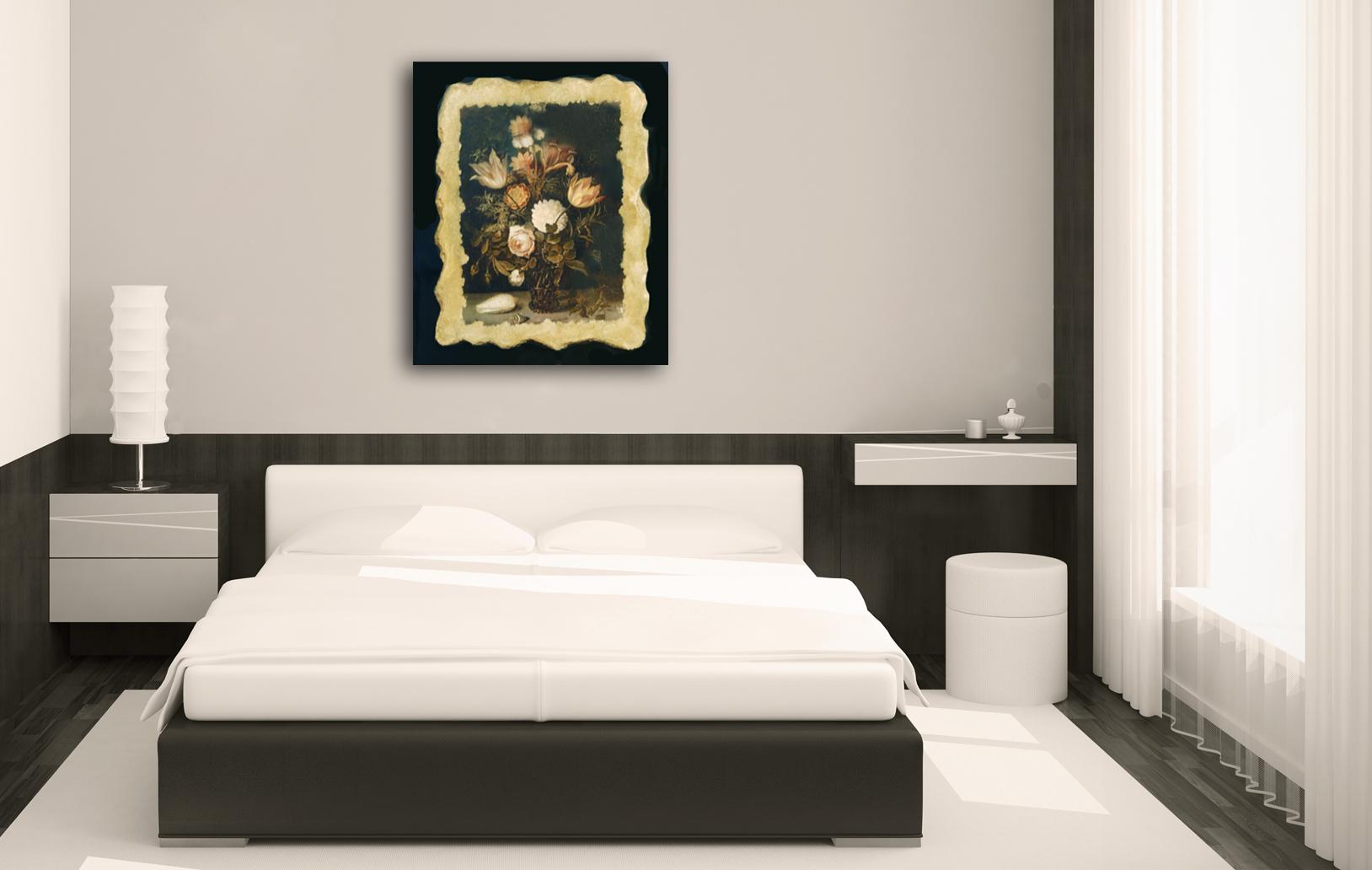 Фреска на холсте в спальне