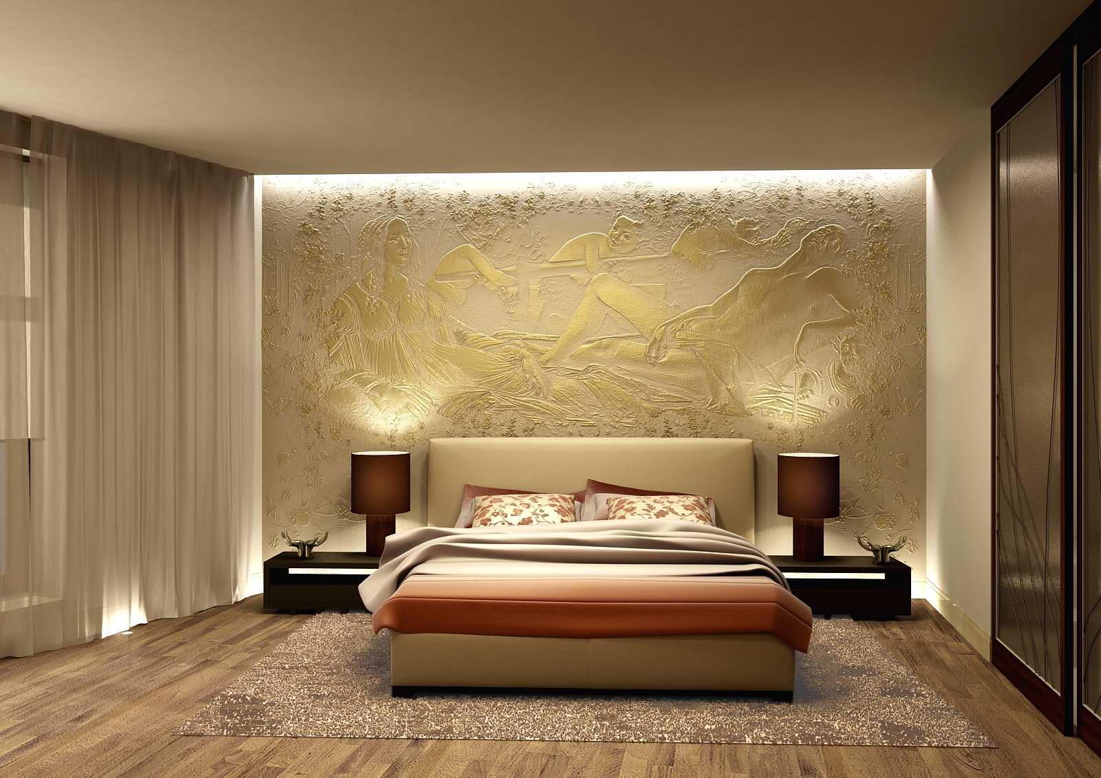 Золотистая фреска в спальне